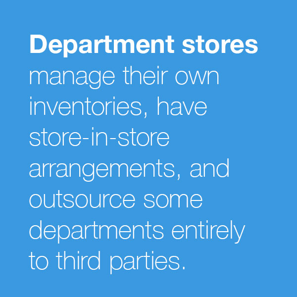 Department stores manage their owninventories, havestore-in-storearrangements, and outsource somedepartments entirely to third-parties.