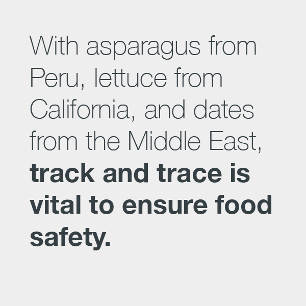 Consumer Goods with Westernacher Consulting: With asparagus from Peru, lettuce from California, and dates from the Middle East, track and trace is vital to ensure food safety.